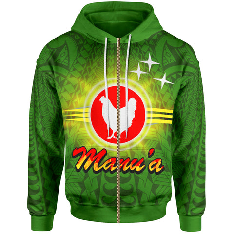Image of American Samoa Polynesian Zip-Up Hoodie - Manu'a Flag Sunlight