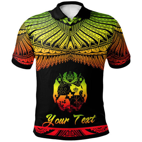 Image of Tonga Polynesian Custom Personalised Polo Shirt - Poly Tattoo Reggae Version