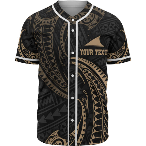 Tokelau Polynesian Custom Personalised Baseball Shirt - Gold Tribal Wave