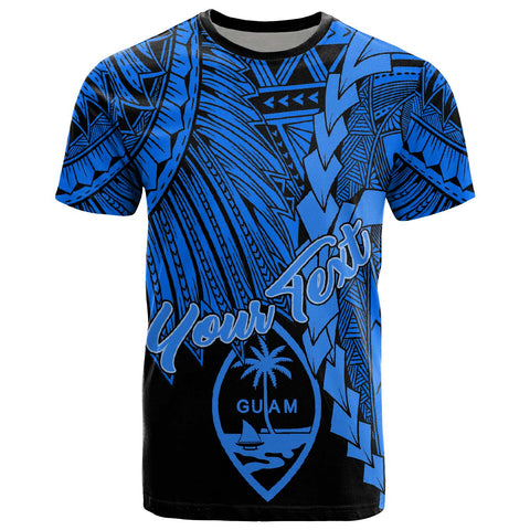 Guam Polynesian Custom Personalised T-Shirt - Tribal Wave Tattoo Blue