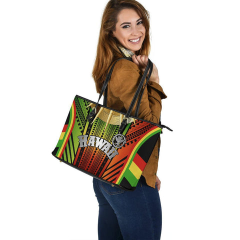 Hawaii Polynesian Leather Tote Bag - Tribal Ornamental - BN12