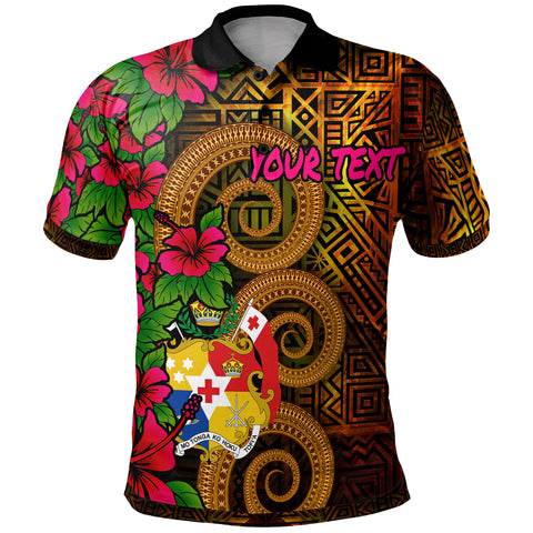 Tonga Polynesian Custom Personalised Polo Shirt - Hibiscus Vintage