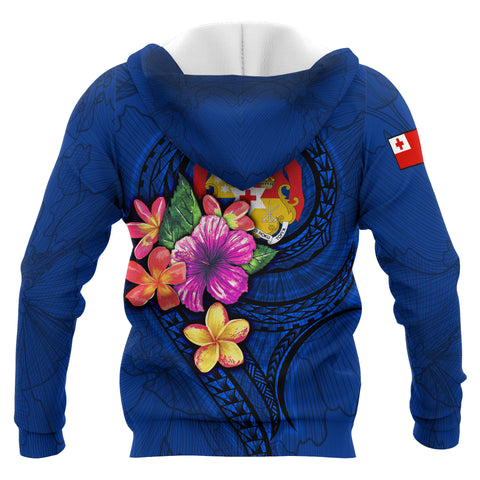 Tonga Polynesian Zip-Up Hoodie - Floral With Seal Blue - BN12