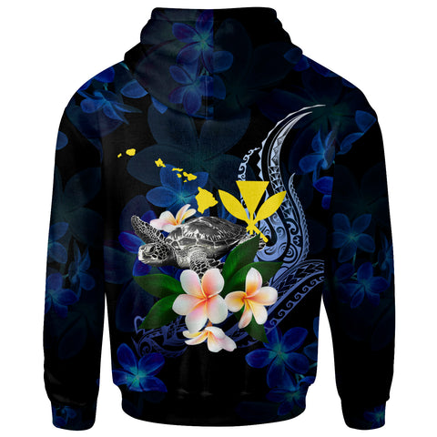 Polynesian Hawaii Zip-Up Hoodie - Turtle With Plumeria Flowers - BN12
