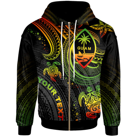 Guam Custom Personalised Zip-Up Hoodie - Reggae Turtle