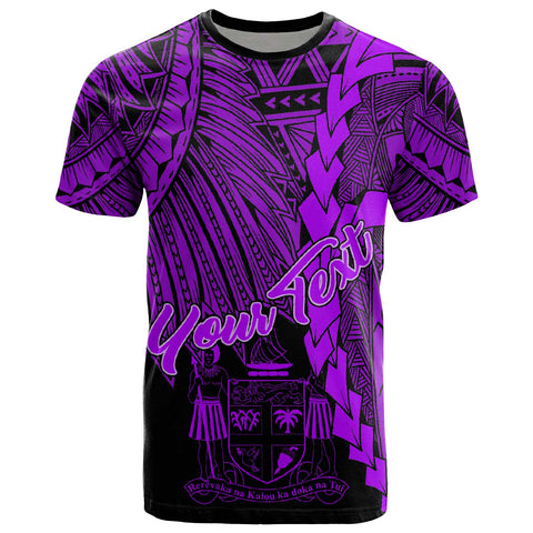 Fiji Polynesian Custom Personalised T-Shirt - Tribal Wave Tattoo Purple
