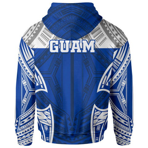 Guam Polynesian Zip-Up Hoodie - Pattern With Seal Blue Version - BN12