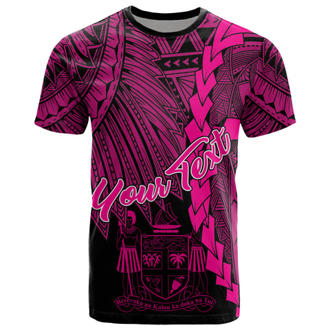 Fiji Polynesian Custom Personalised T-Shirt - Tribal Wave Tattoo Pink