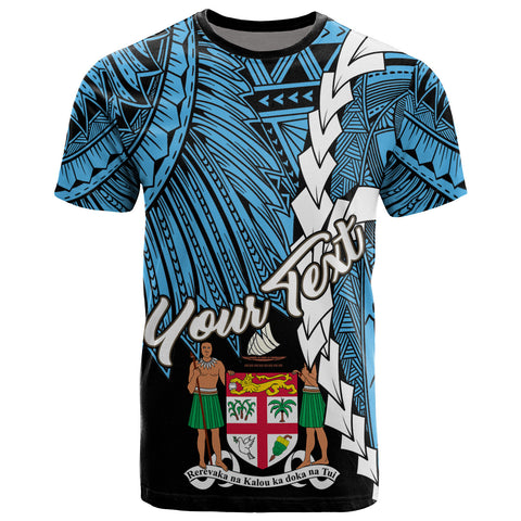 Fiji Polynesian Custom Personalised T-Shirt - Tribal Wave Tattoo Flag Style