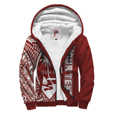 Guam Hawaii Personalised Custom Polynesian Sherpa Hoodie - Line Red - BN39