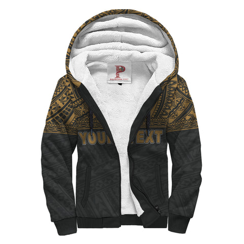Tahiti (French Polynesia) Polynesian Personalised Custom Sherpa Hoodie - Gold Horizontal