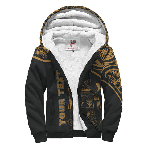 Fiji Polynesian Personalised Custom Sherpa Hoodie - Gold Curve Style