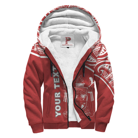 Image of Fiji Polynesian Personalised Custom Sherpa Hoodie - Red Curve Style