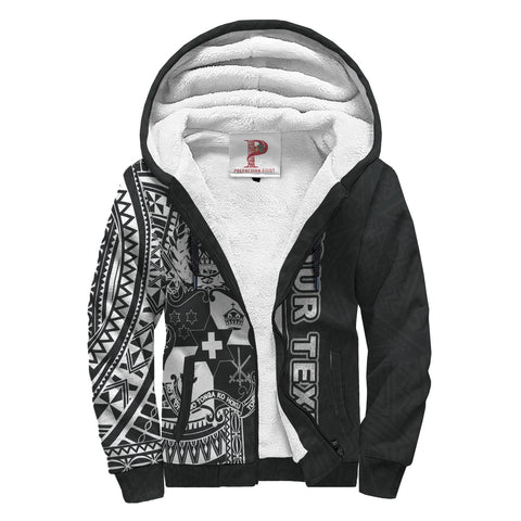 Image of Tonga Personalised Custom Polynesian Sherpa Hoodie - Black Line - BN1112