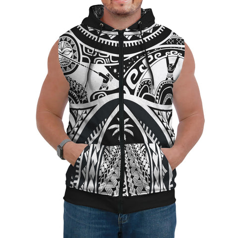 Polynesian AOP Sleeveless Hoodie - Guam Flag, Seal with Maui Moana Tattoo - BN17