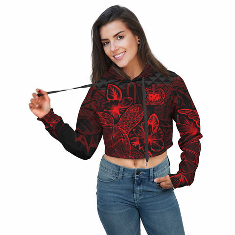 Polynesian Samoa Crop Hoodie - Turtle Hibiscus Red - BN39