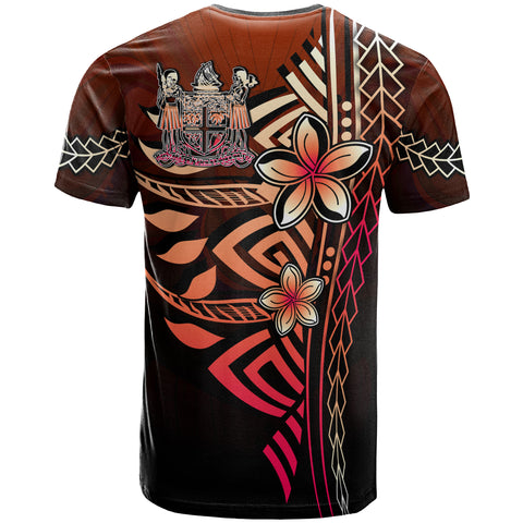 Fiji Polynesian T-Shirt Red - Vintage Tribal Mountain Crest