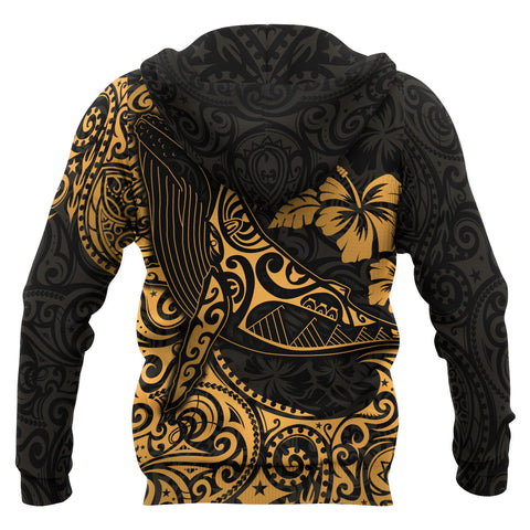 Image of Polynesian Hawaii Zip-up Hoodie - Polynesian Golden Humpback Whale