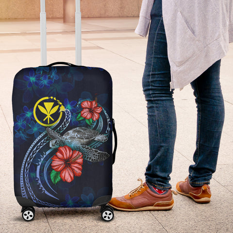 Hawaii Polynesian Luggage Cover - Blue Turtle Hibiscus - BN12