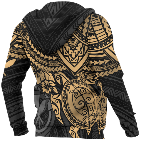 Image of Polynesian Hawaii Hoodie (Zip-up) - Gold Turtle - BN1518