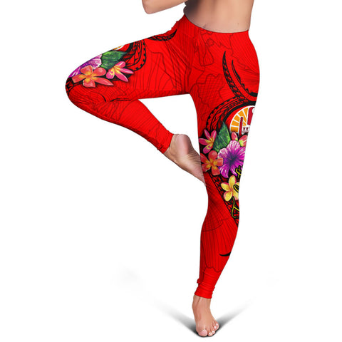 Tonga Polynesian Women's Leggings - Floral With Seal Red