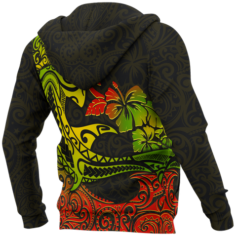 Hawaii Zip-up Hoodie - Polynesian Hammerhead Shark - BN15