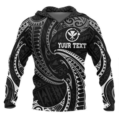 Hawaii Polynesian Custom Personalised Hoodie - White Tribal Wave