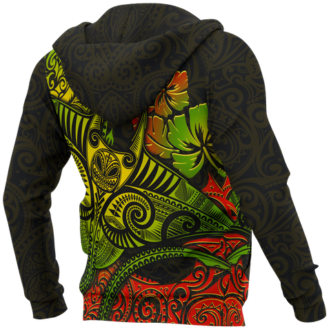 Hawaii Zip-up Hoodie - Polynesian Manta Ray