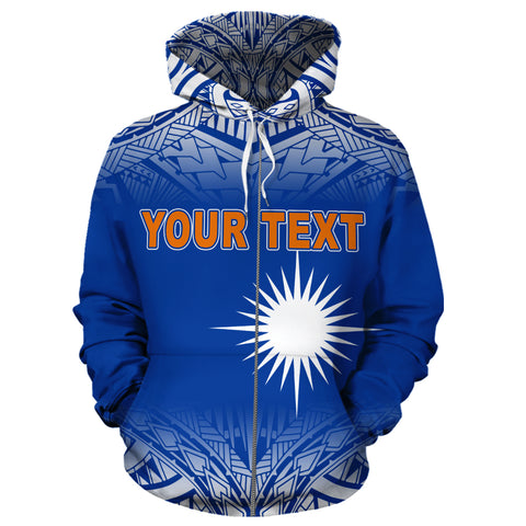 Marshall Islands Personalised Custom Zip-Up Hoodie, Polynesian Zip-Up Hoodie, Personalised Custom Zip-Up Hoodie, Polynesian Personalised Custom Zip-Up Hoodie