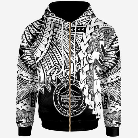 Image of Palau Polynesian Zip Up Hoodie - Tribal Wave Tattoo White
