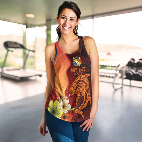 Image of Tonga Custom Personalised Women's Racerback Tank - Tribal Tuna Fish - BN39
