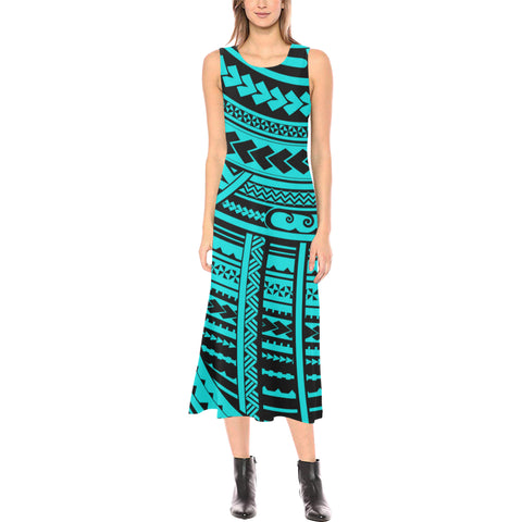 Polynesian Tribal Phaedra Sleeveless Open Fork Long Dress - Blue Version