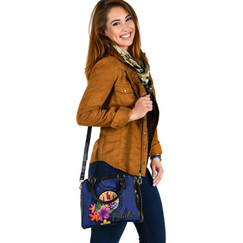 Tahiti Polynesian Shoulder Handbag - Floral With Seal Blue - BN12