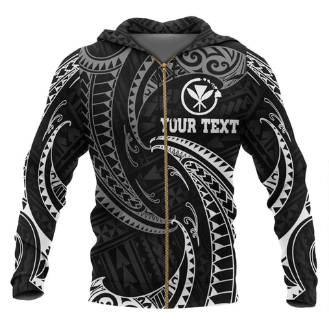 Hawaii Polynesian Custom Personalised Zip-Up Hoodie - White Tribal Wave