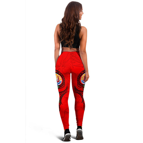 Tonga Polynesian Women's Leggings - Floral With Seal Red - BN12