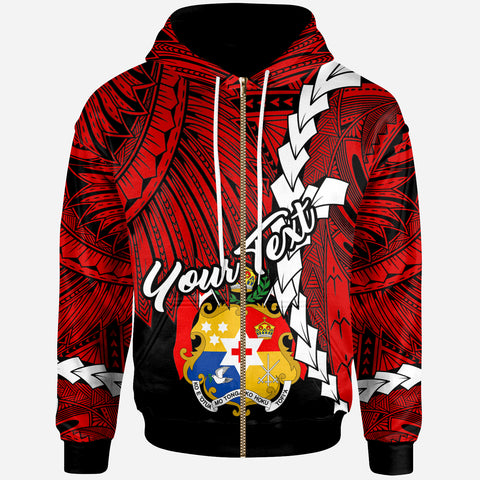 Tonga Polynesian Custom Personalised Zip-Up Hoodie - Tribal Wave Tattoo Flag Color