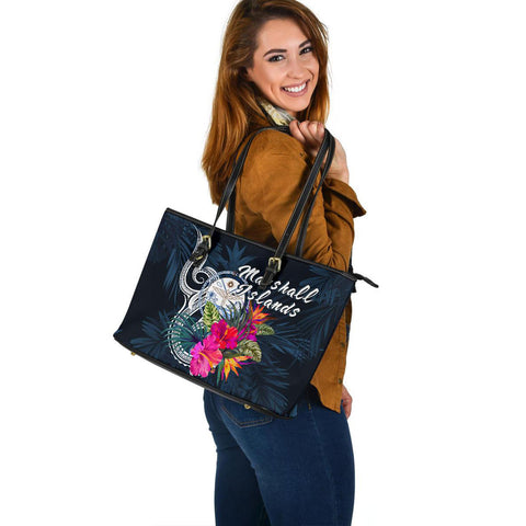 Marshall Islands Polynesian Large Leather Tote - Tropical Flower - BN12