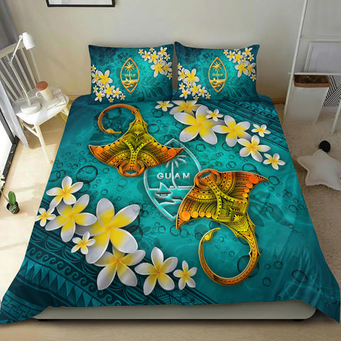Image of Guam Polynesian Bedding Set - Manta Ray Ocean