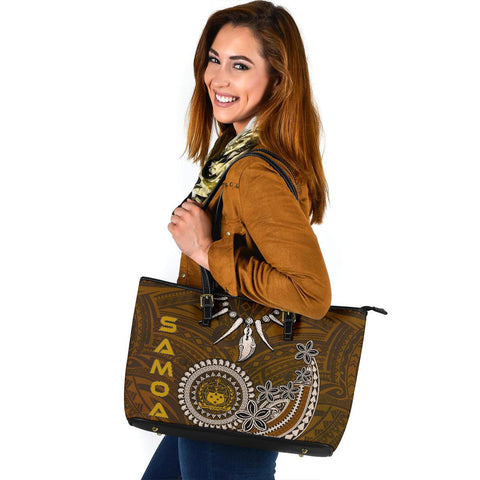 Samoa Large Leather Tote - Polynesian Boar Tusk - BN39
