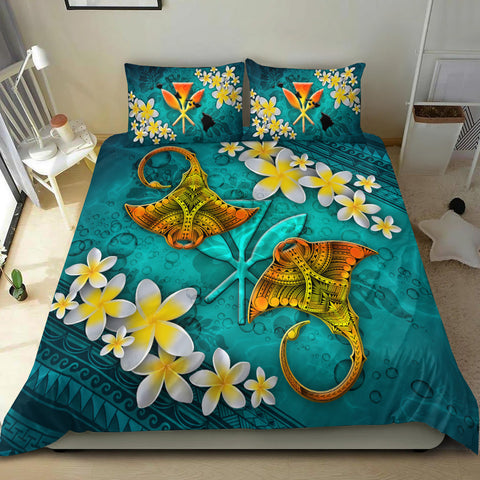 Hawaii Polynesian Bedding Set - Manta Ray Ocean