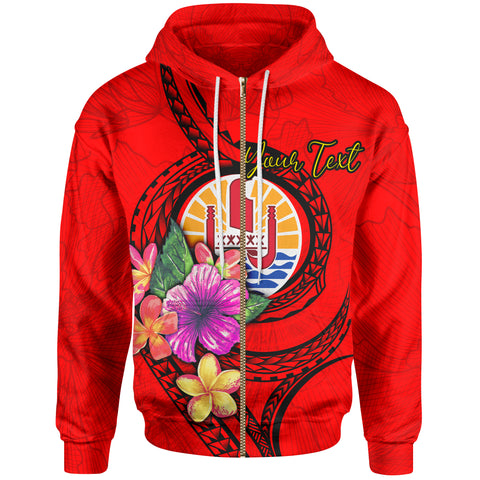 Tahiti Polynesian Custom Personalised Zip-Up Hoodie - Floral With Seal Red