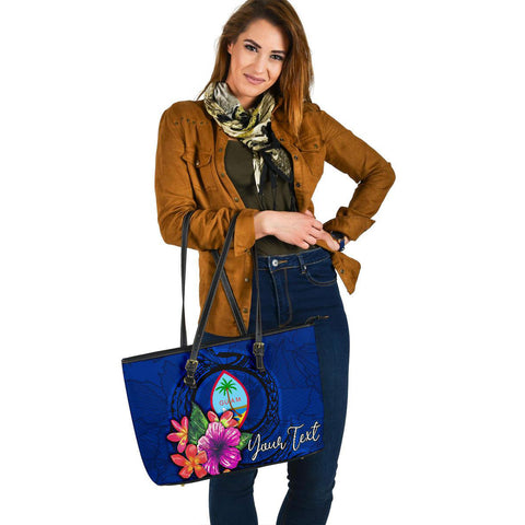Guam Polynesian Custom Personalised Leather Tote Bag - Floral With Seal Blue - BN12