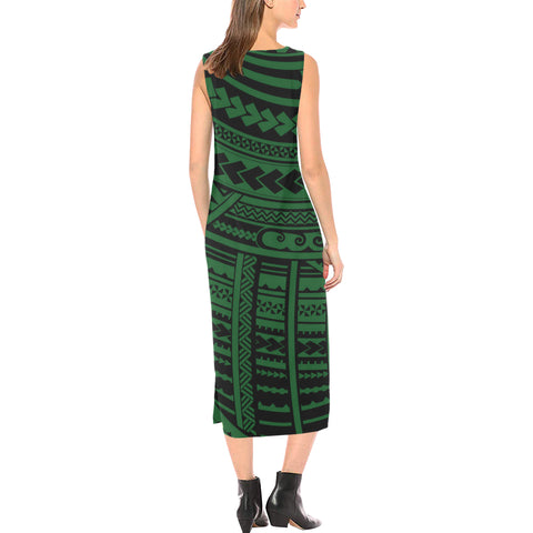 Polynesian Tribal Phaedra Sleeveless Open Fork Long Dress - Green Version - BN12