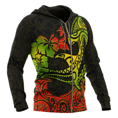 Hawaii Zip-up Hoodie - Polynesian Hammerhead Shark