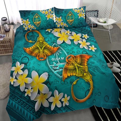 Image of Guam Polynesian Bedding Set - Manta Ray Ocean - BN12