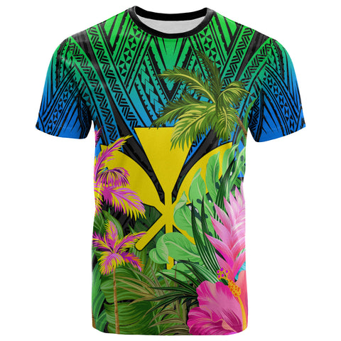 Hawaii T-Shirt Green Blue - Hibiscus Coconut