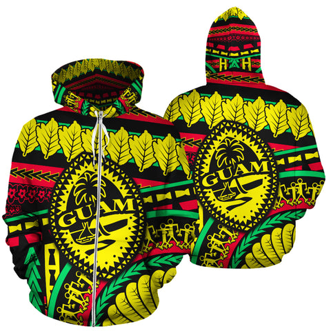 Guam Polynesian All Over Zip Up Hoodie - Chamorro Rasta - BN39