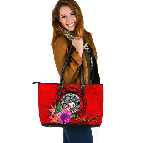 American Samoa Custom Personalised Polynesian Large Leather Tote - Floral With Seal Red