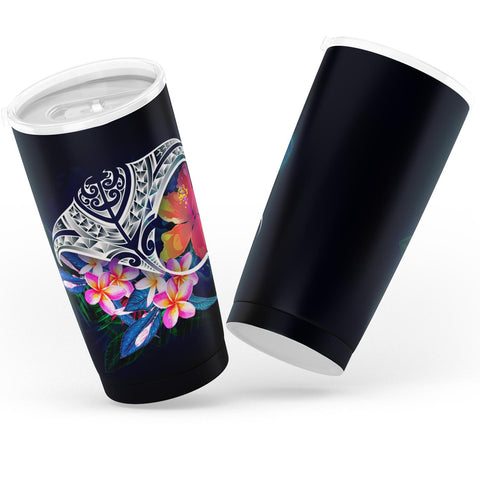 Polynesian Tumbler - Manta Ray And Hibiscus Flowers - BN12
