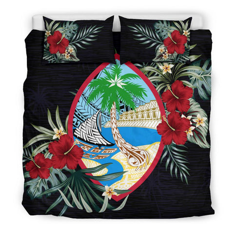 Image of Guam Hibiscus Coat Of Arms Duvet Cover Set King